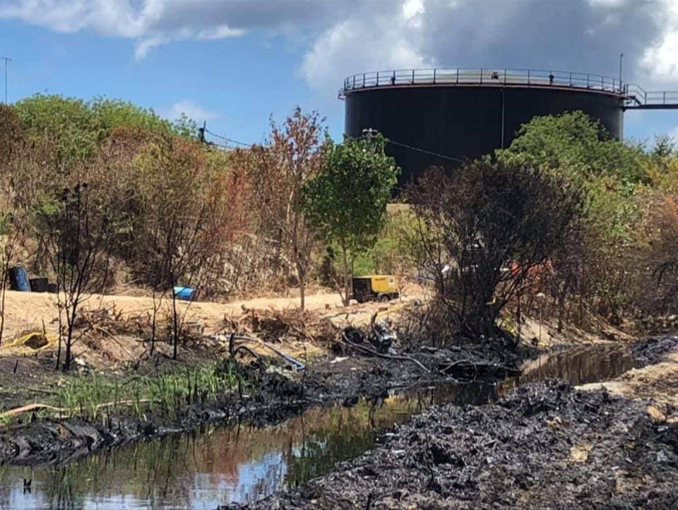 12 Nov 2020: aftermath of the oil spill by the fuel storage tanks in Port Louis, Mauritius