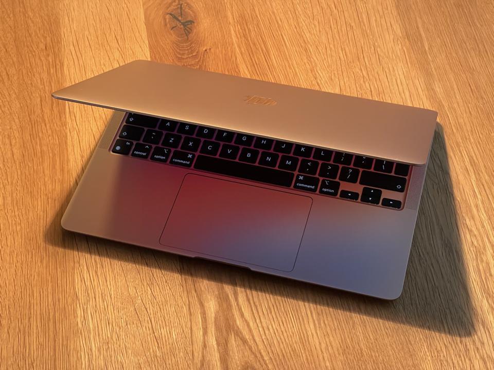 Apple MacBook AIr in gold aluminum finish.