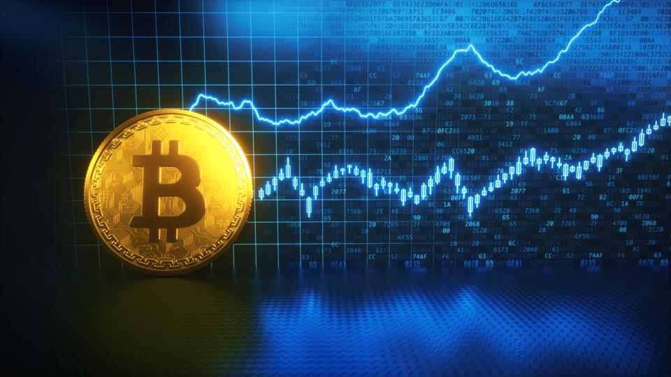 Bitcoin financial growth with golden coin