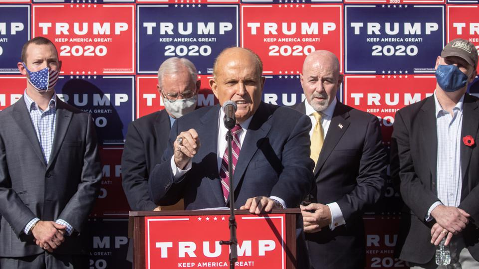 Rudy Giuliani, Trump Campaign Lawyers Hold News Conference In Philadelphia