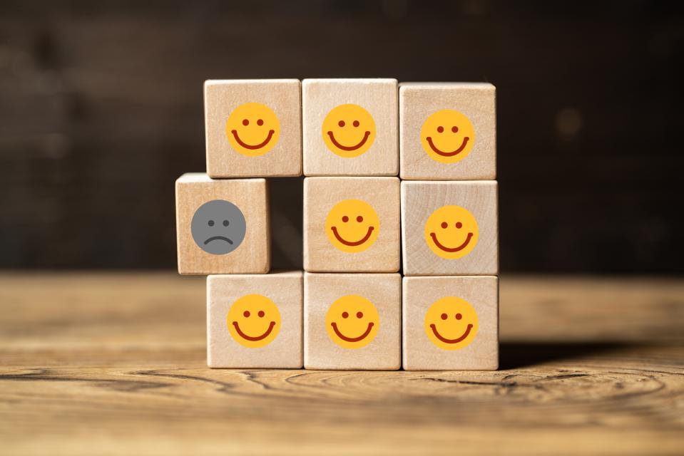 Single unhappy block and group of happy blocks