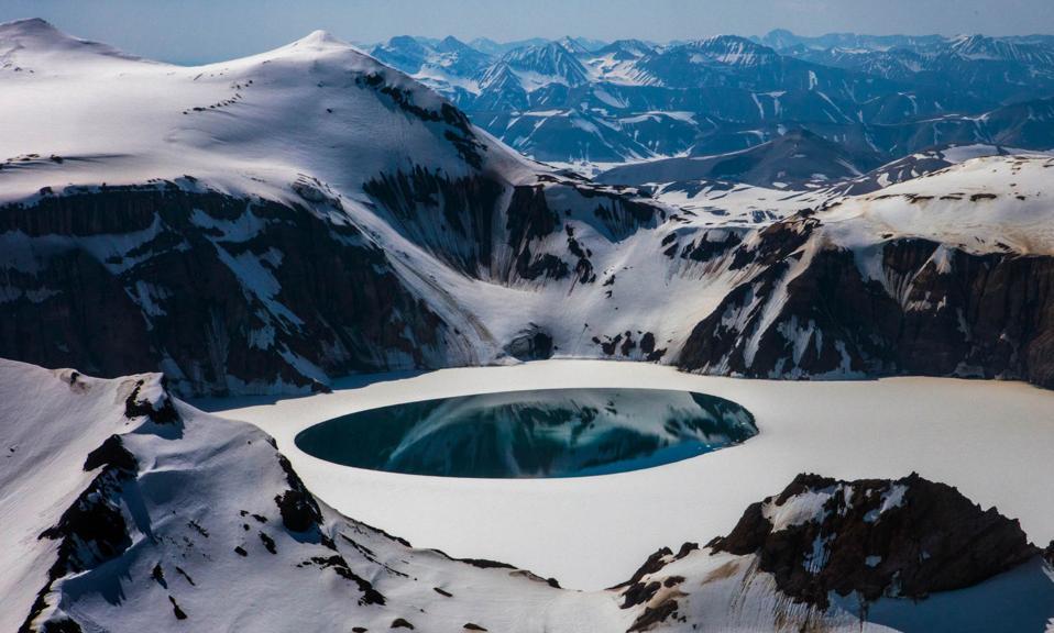 Best World Destinations: crater lake at the summit of Mount Katmai in Alaska's Katmai National Park.