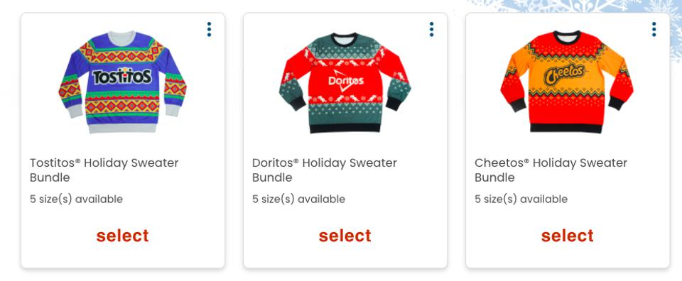 Holiday sweaters in Frito-Lay's holiday shop
