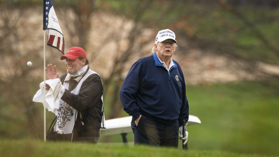 President Donald J. Trump golfs at Trump National Golf Club...