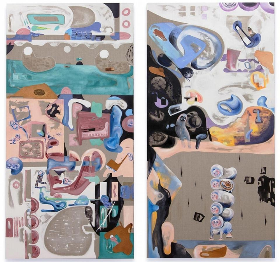 Images within the collage-style mixed-media work are repeated within the work and across the diverse portfolio of Cho, Hui-Chin