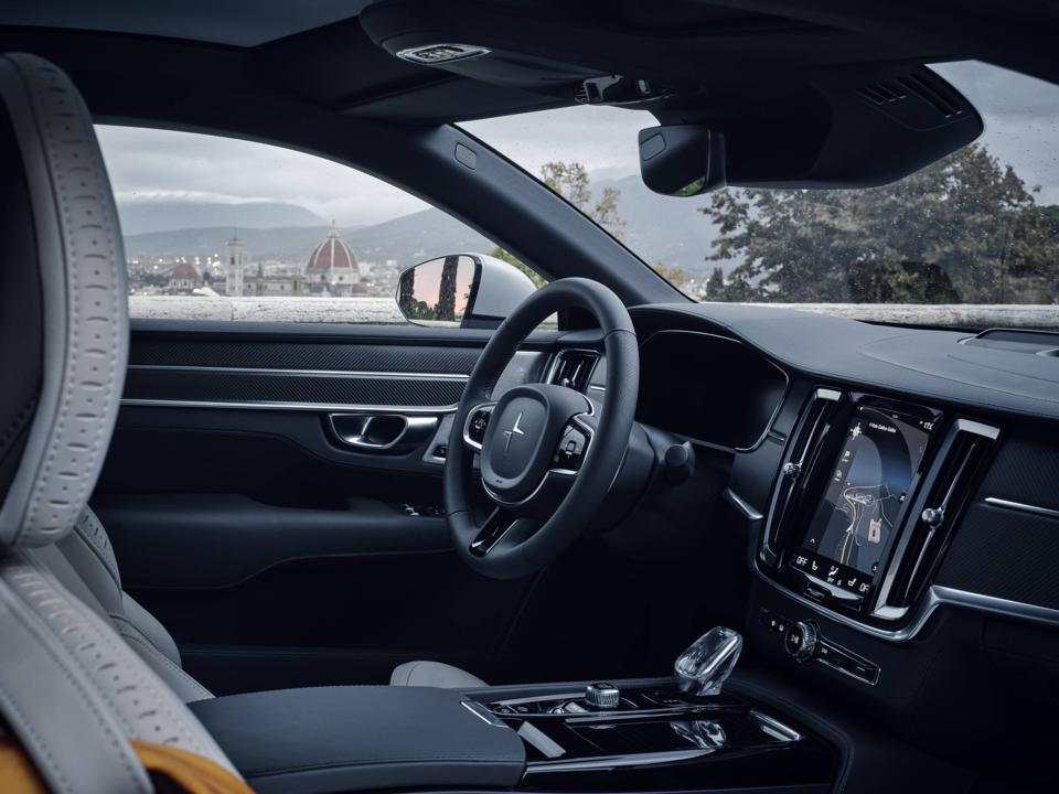 Interior and dashboard of the Polestar 1 hybrid car