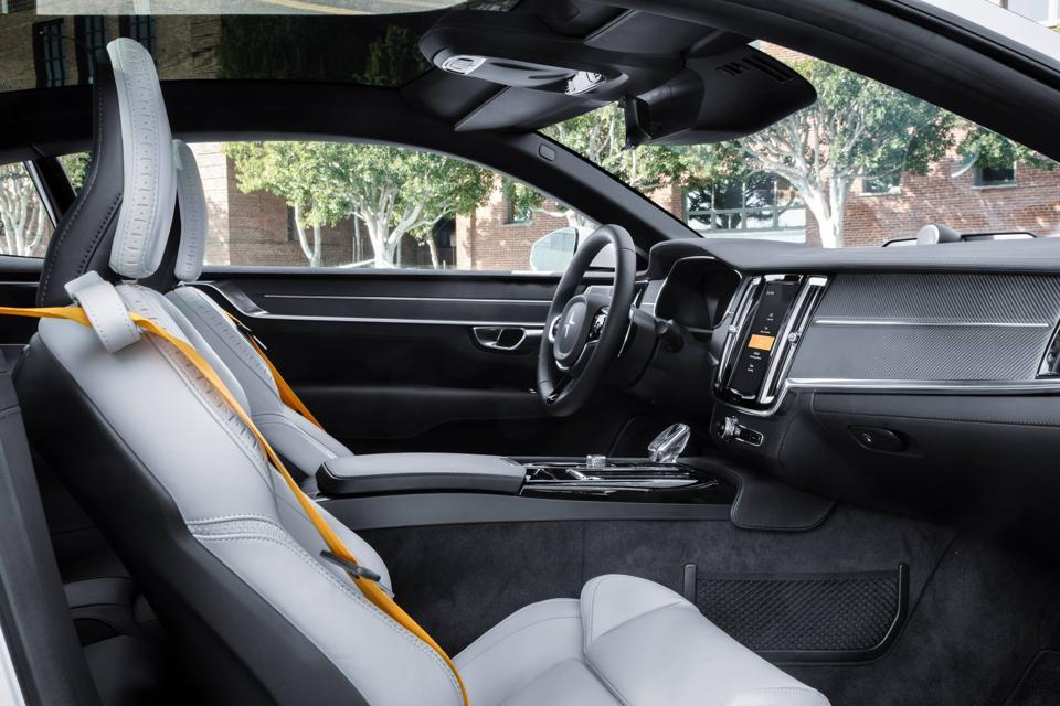 Dashboard and interior of the Polestar 1 hybrid GT car