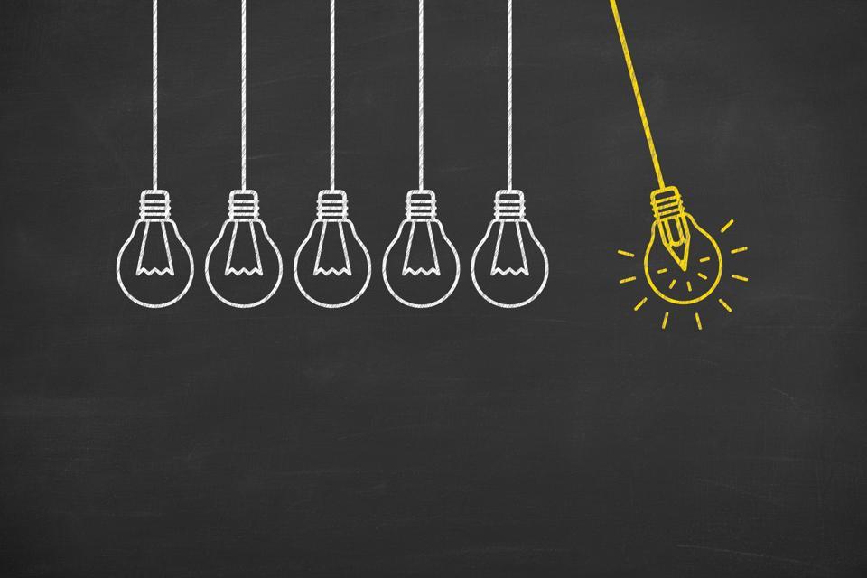 Creative idea concept with light bulbs