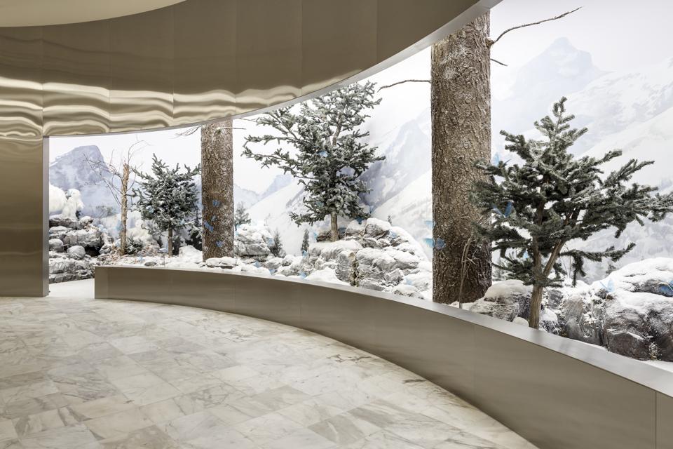 A snowy vista at Aritzia's Super World pop-up shop.