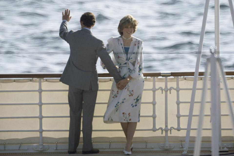 The Prince and Princess of Wales leave Gibraltar on the Royal Yacht Britannia for their honeymoon cruise, 31st July 1981.