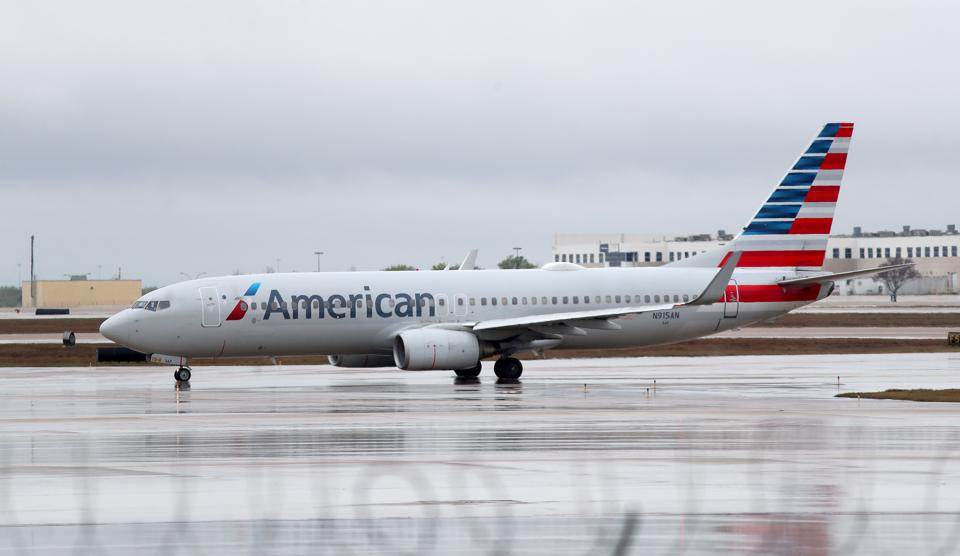 American Airlines jet on runway