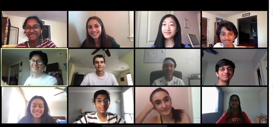 Enlarged screenshot of 12 high school students.