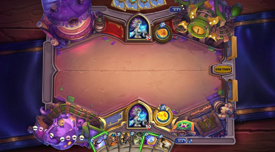 Hearthstone's Madness at the Darkmoon Faire game board.