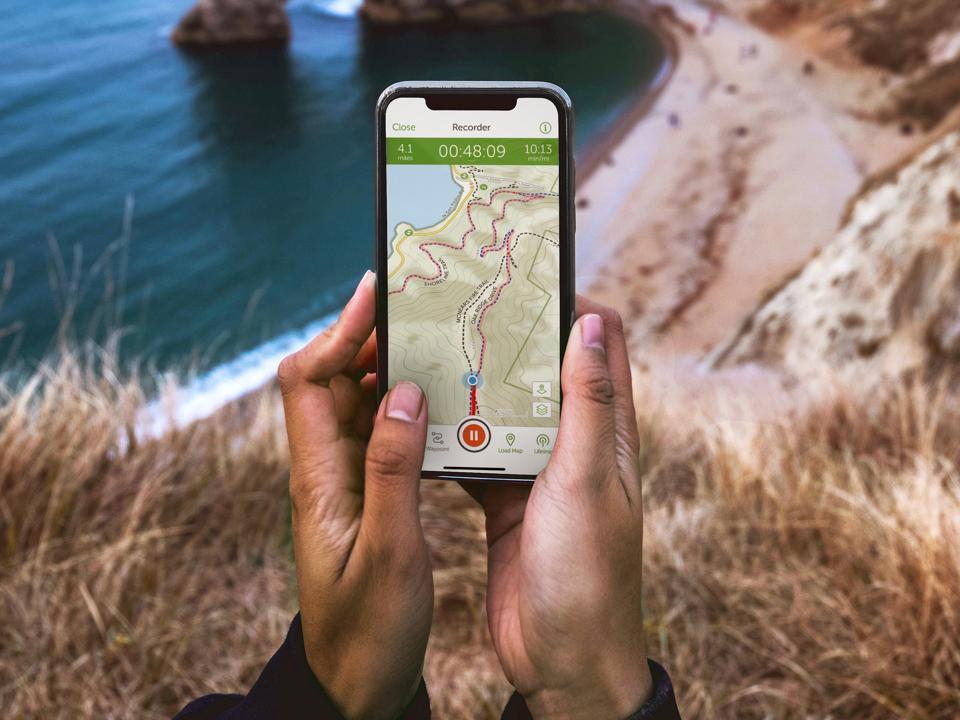 A closeup of the AllTrails app