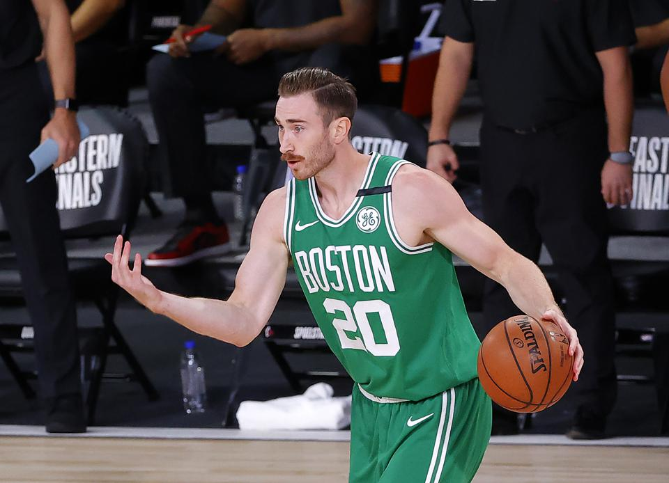 The Boston Celtics' Gordon Hayward has the ball during this year's Eastern Conference Finals.