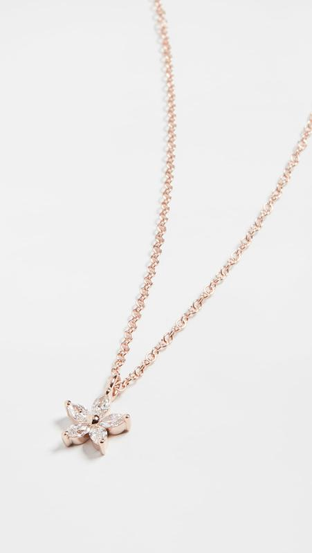 EF Collection 14k Marquise Diamond Flower Choker Necklace