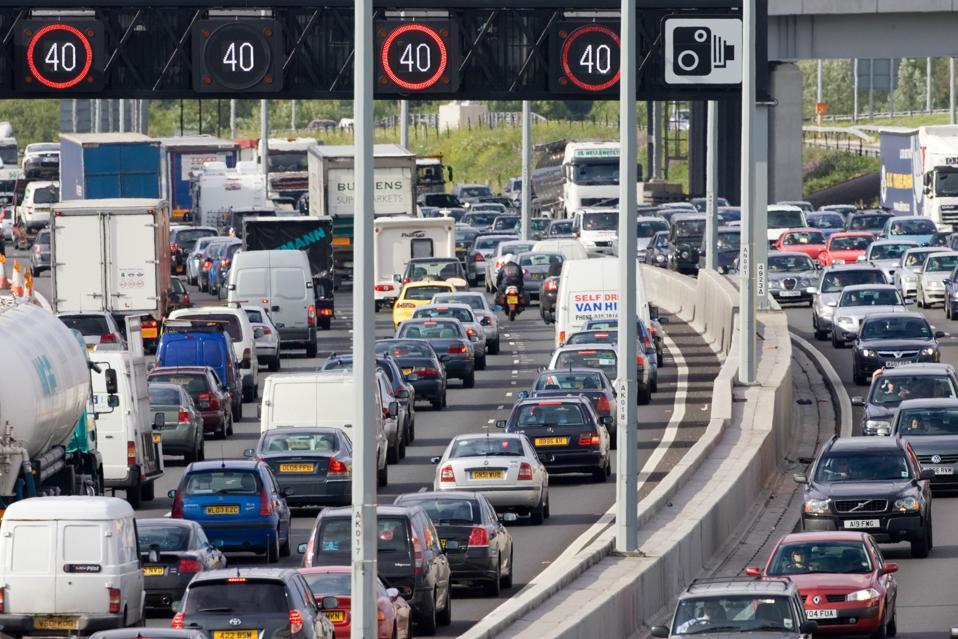 Gridlock on the M25 motorway near London.