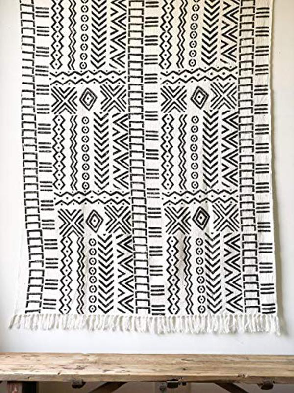 Black & White Mudcloth Inspired Throw Blanket