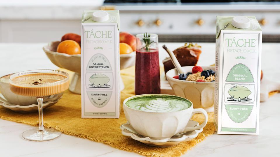 Táche pistachio milk Original Unsweetened, left, and Original Blend, right