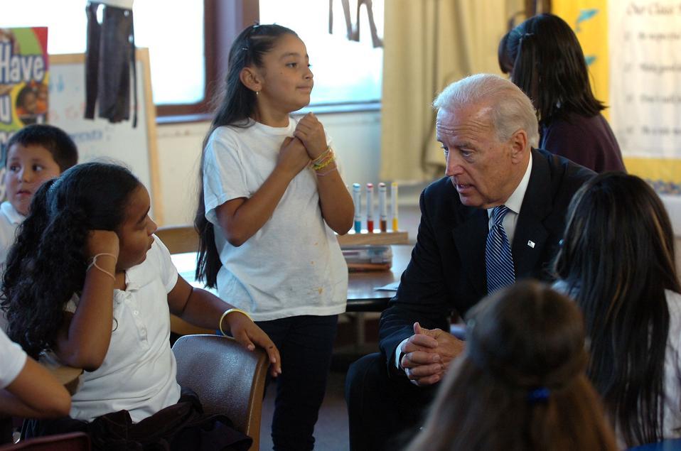 Joe Biden talks with third-graders in Redwood City, California in 2010.