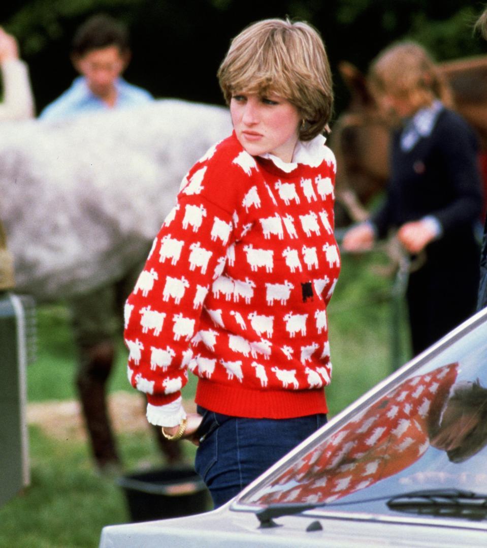 Diana, Princess of Wales wearing Black Sheep Jumper