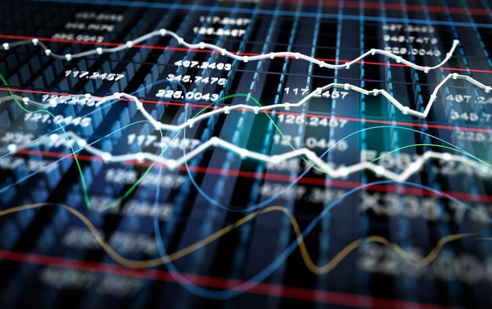 Stock exchange graph background, 3D illustration