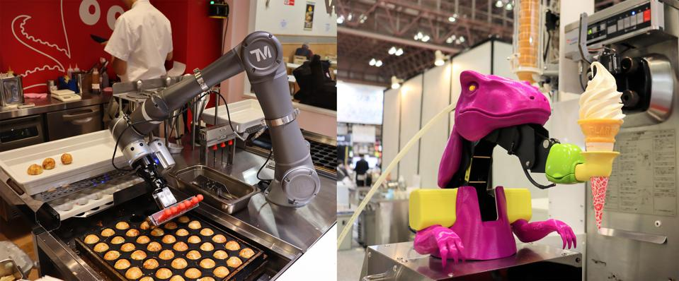 Connected Robotics' OctoChef (left) churns out perfectly grilled takoyaki octopus balls