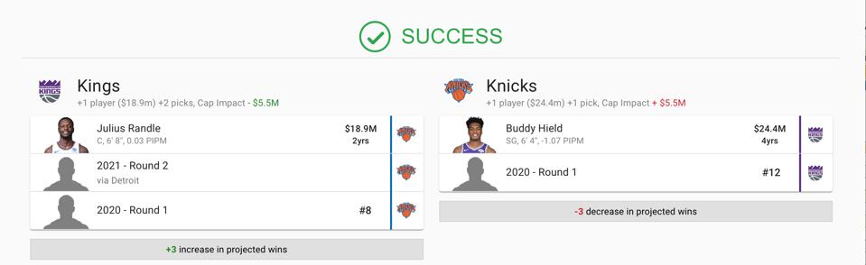 The New York Knicks trade package for Buddy Hield.