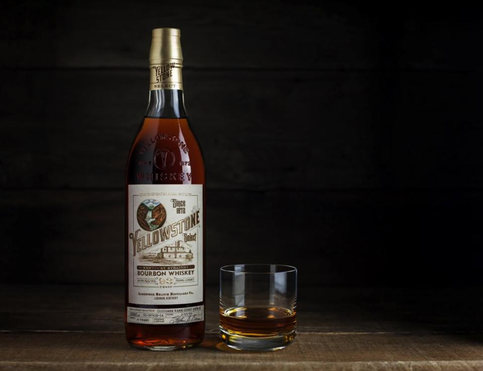 A bottle of Yellowstone Select Kentucky Straight Bourbon Whiskey