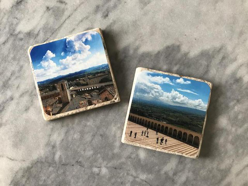 Travel photos memorialized on durable coasters
