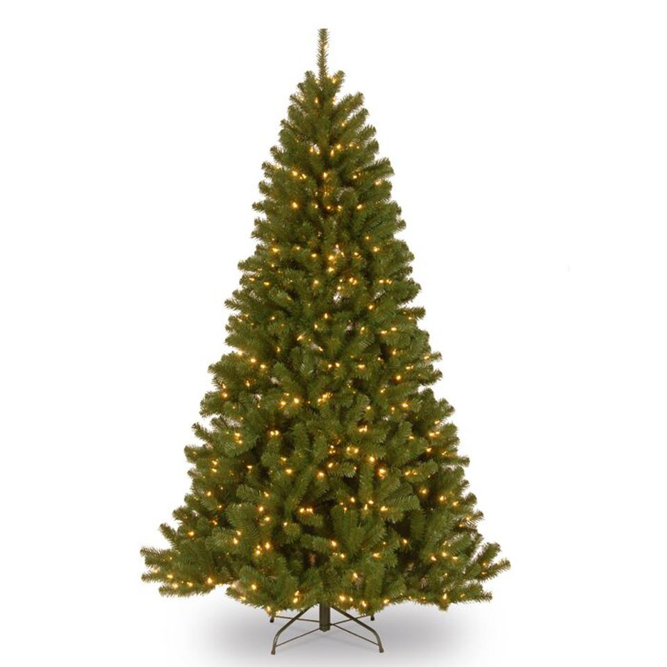 Beachcrest Home Norwood Fir Green Spruce Artificial Christmas Tree with White Lights