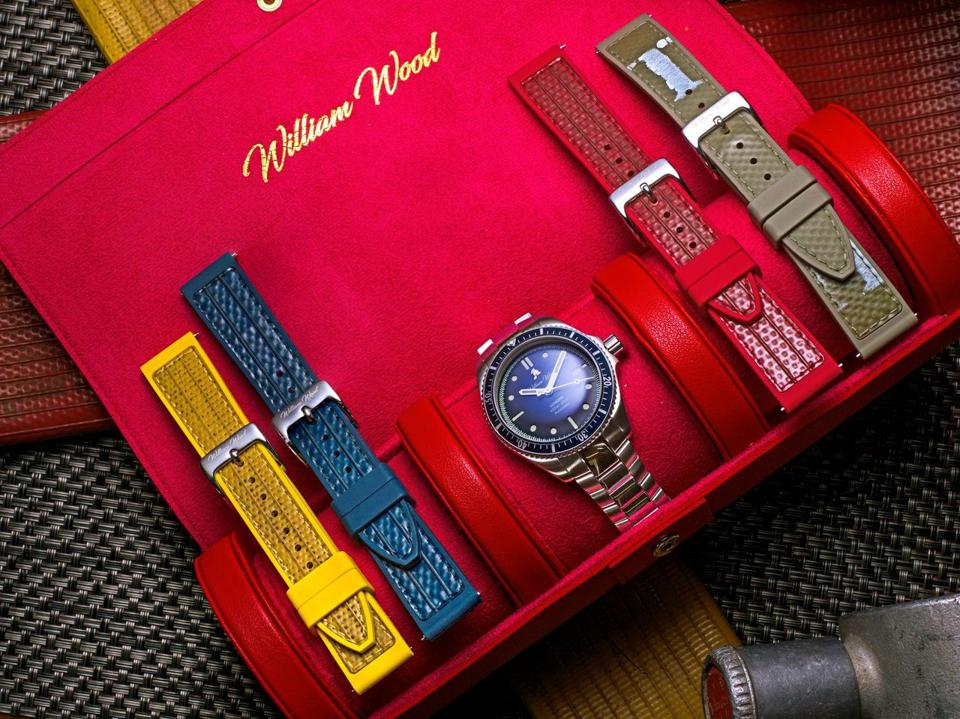William Wood Valiant Blue Watch with recycled fire hose strap.