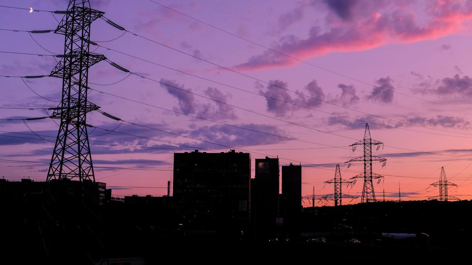 Sunset behind electric lines