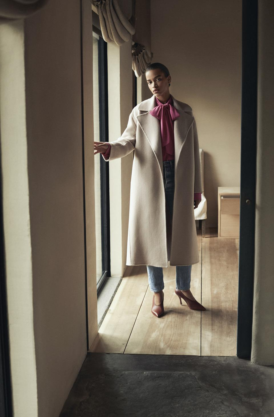 The Another Tomorrow Draped Overcoat is made from ethical merino wool sourced from a Responsible Wool Standard-certified family farm in Tasmania.