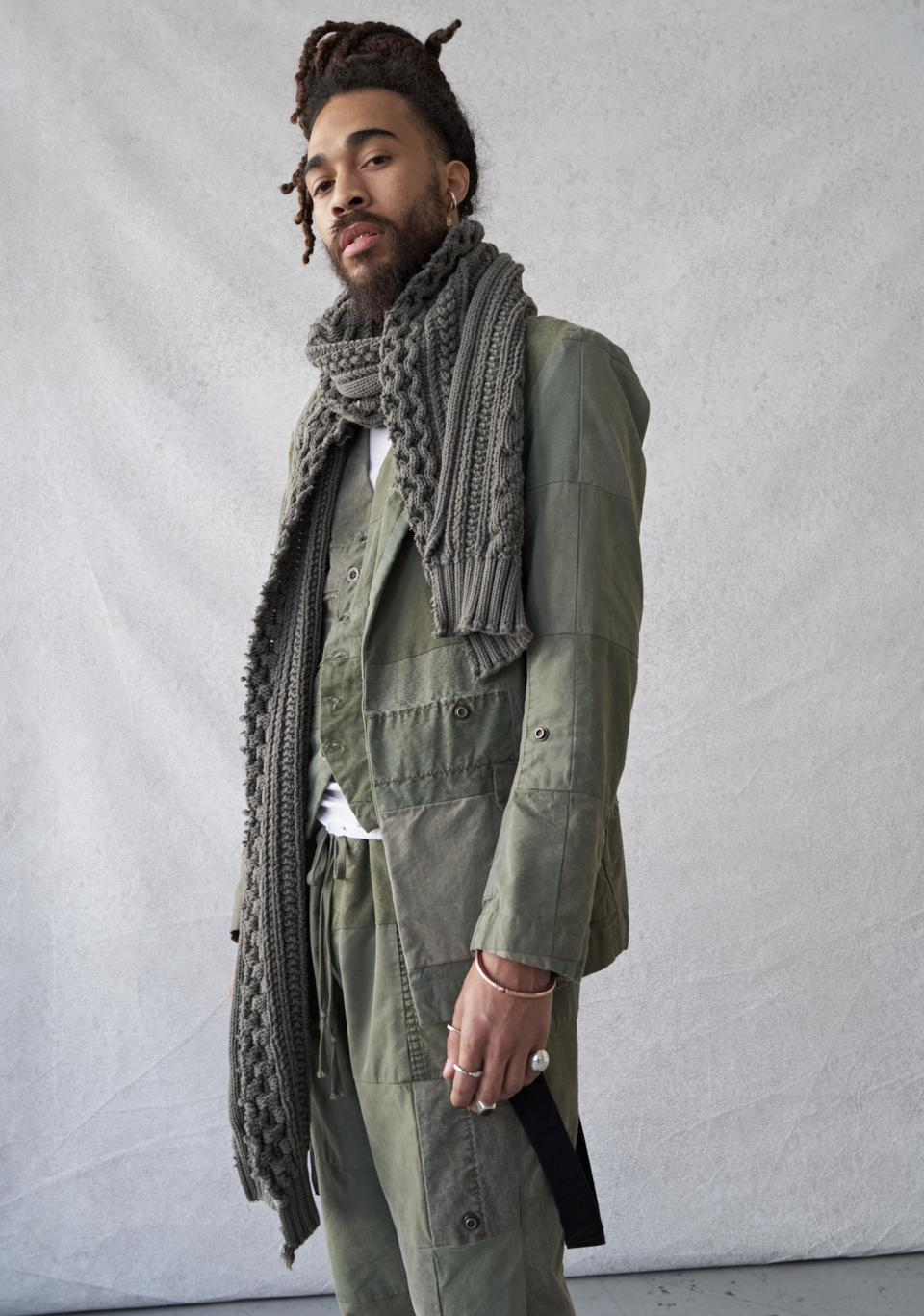 Scrapwork garments are produced by using wastage that would typically be directed to a landfill. Instead, thousands of scraps were given to local quilters to create yardage that we refer to as Greg Lauren Scrapwork. These pieces were created using the scraps of vintage U.S. Army half tents.