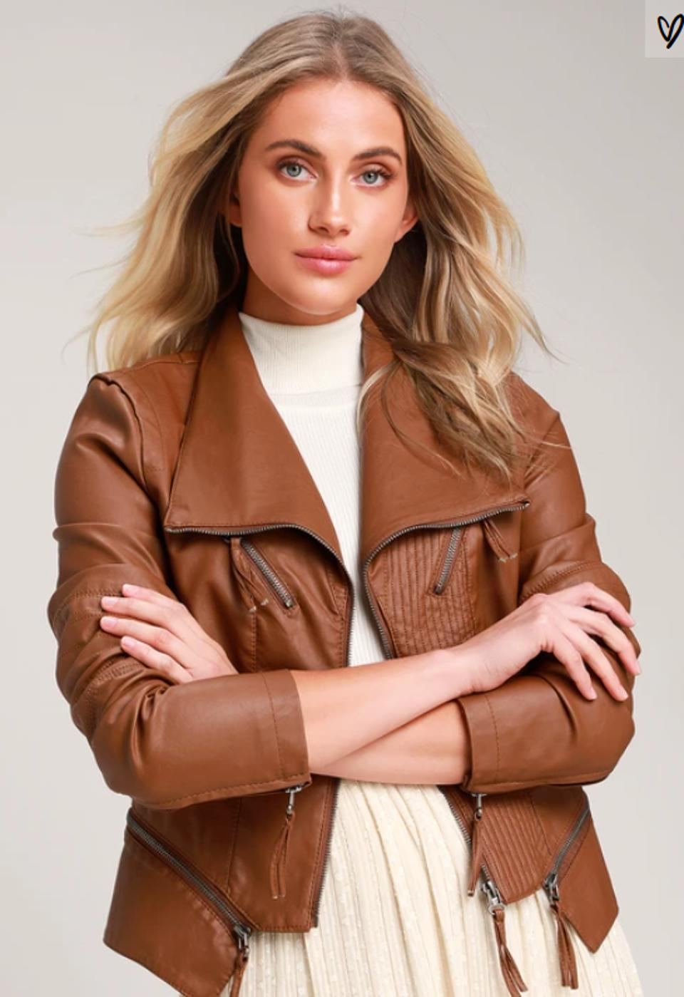 Weekday or not, go from day to night with the Lulus Up on a Tuesday Camel Vegan Leather Jacket. This sleek moto jacket has a collared neckline, long sleeves with zipper cuffs, and eye-catching top-stitching throughout, making it a perfect fall staple for your wardrobe. Better yet, the buttery soft fabrics feel as luxurious as leather all at an affordable price.