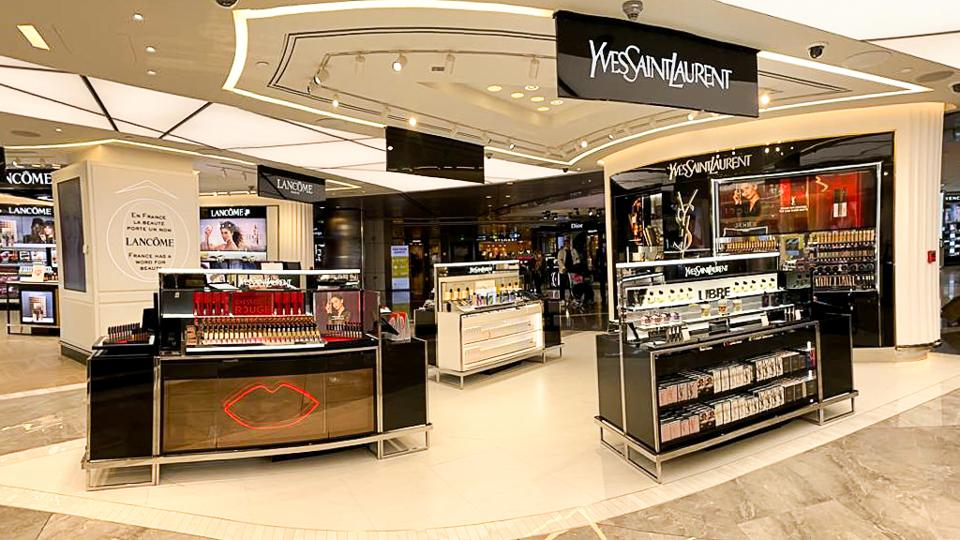 YSL Beauty counter at Hamad International Airport.