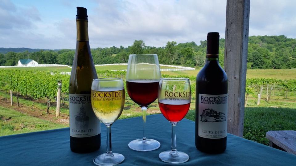 Two bottles of wine near a vineyard at Rockside Winery.