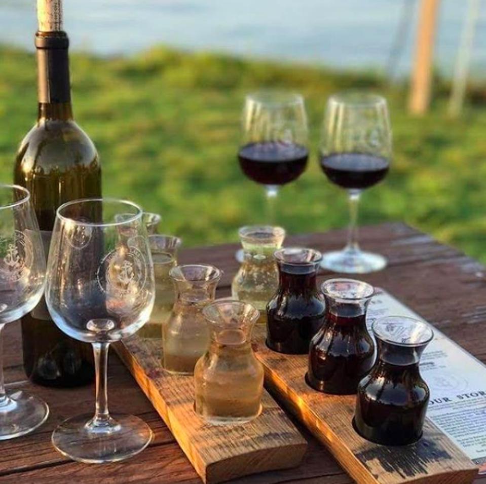 Several glasses of wine at Buckeye Lake Winery.