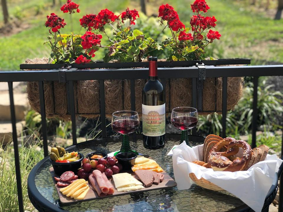 A wine table with German-style reds and whites.