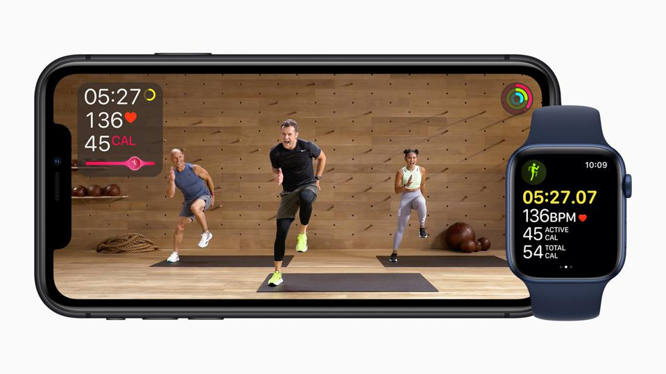 Apple FItness+ on iPhone and Apple Watch.