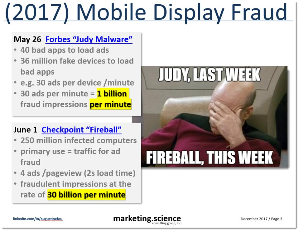 slide showing Judy Malware and Fireball Malware ad impression volumes