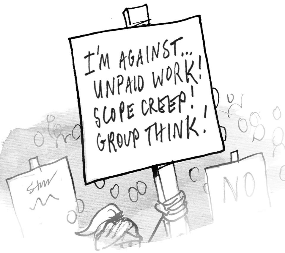 Woman in a crowd of protestors, holding a sign in the air that reads: ″I'm against ... UNPAID WORK! SCOPE CREEP! GROUP THINK!″