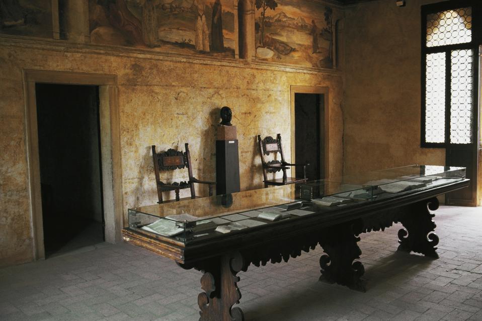 Interior of house of the poet Francesco Petrarca.