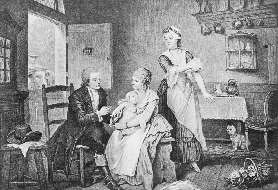 Physician Edward Jenner Inoculating Child at Home
