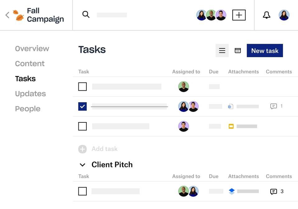 Screenshot of Dropbox Spaces 2.0 showing Tasks