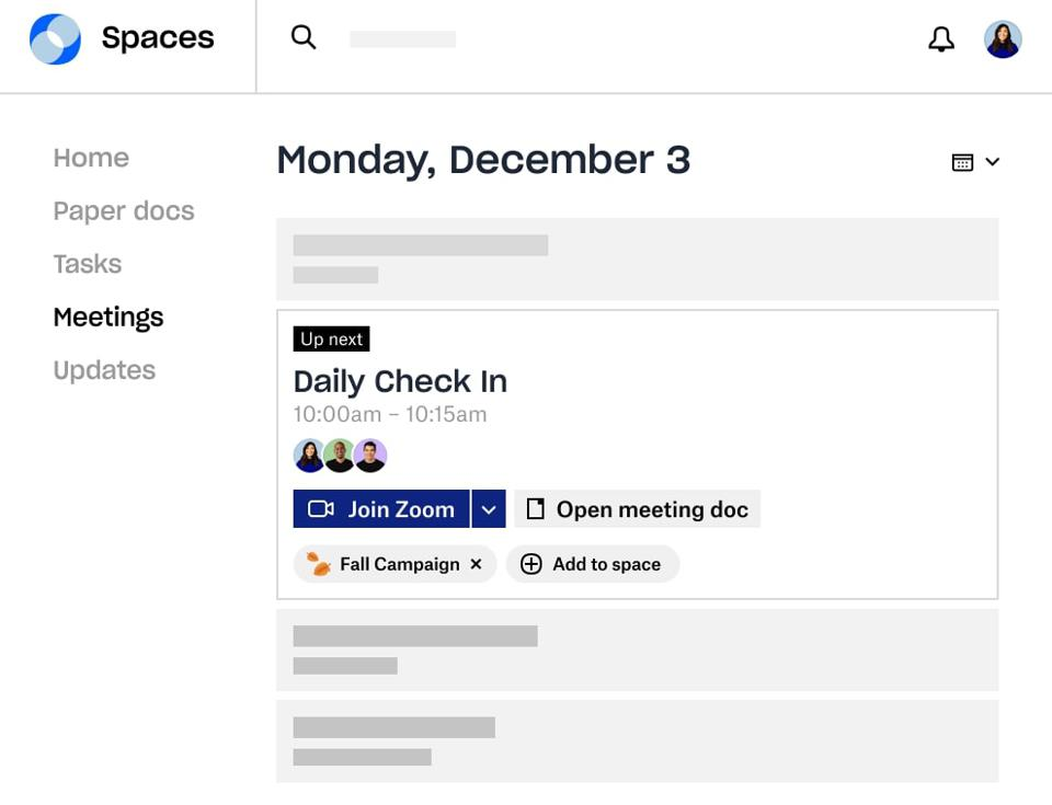 Meetings screenshot Dropbox Spaces 2.0