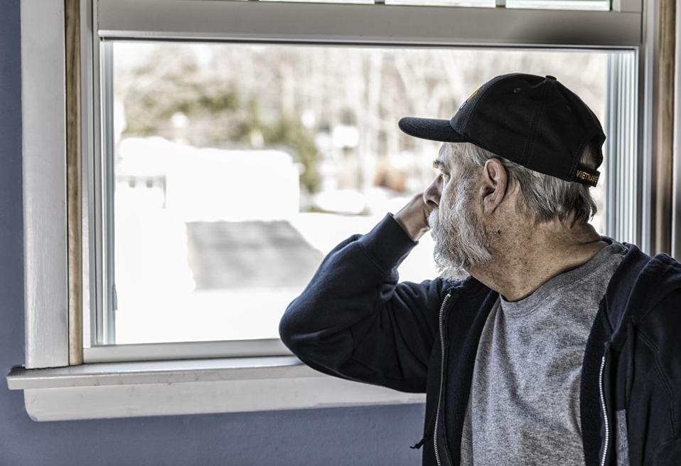 USA Vietnam War Military Veteran Looking Away Through Window