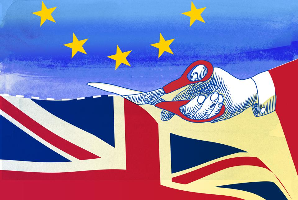 concept illustration of Brexit cut