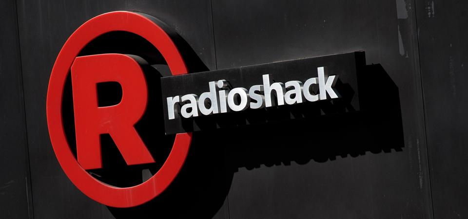 A Radio Shack sign outside a New York City store in 2017